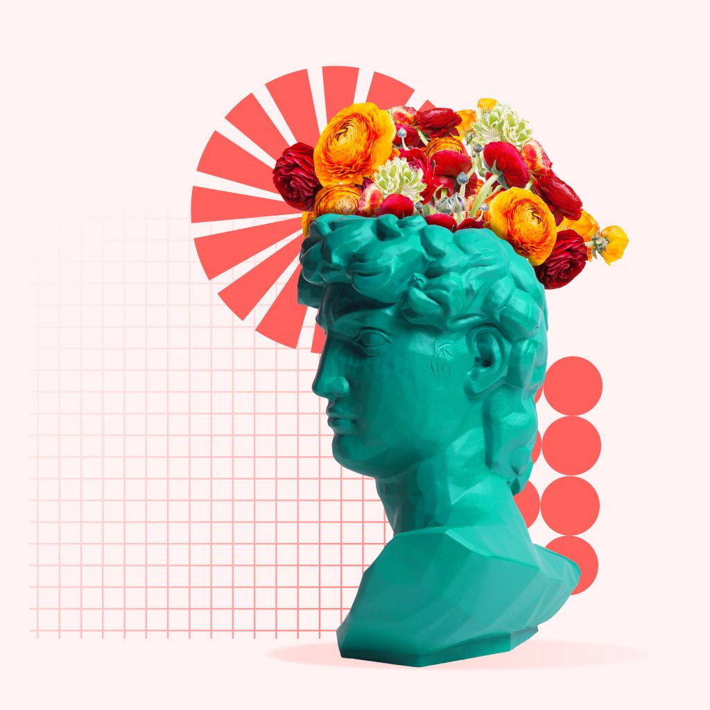 Green statue with flowers on the head with geometric elements on coral background. Negative space to insert your text. Modern design. Contemporary colorful and conceptual bright art collage.